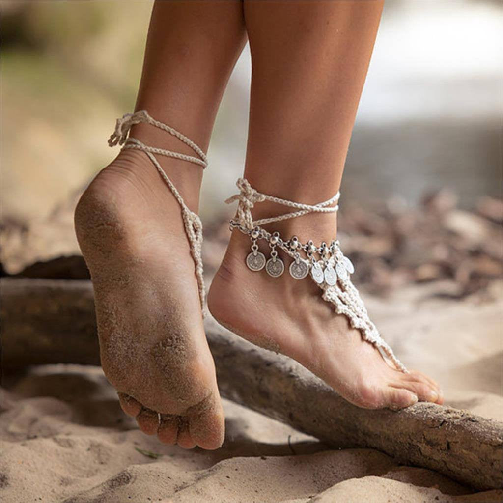 Silver Color Bohemian Metal Tassel Anklet Luxury Charm Coin Ankle Bracelet For Women