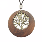 Alloy Life Tree Wooden Pendant Necklace