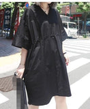 Fashionable loose plus size  short-sleeved laced-up  dress - Itsuniquelymine