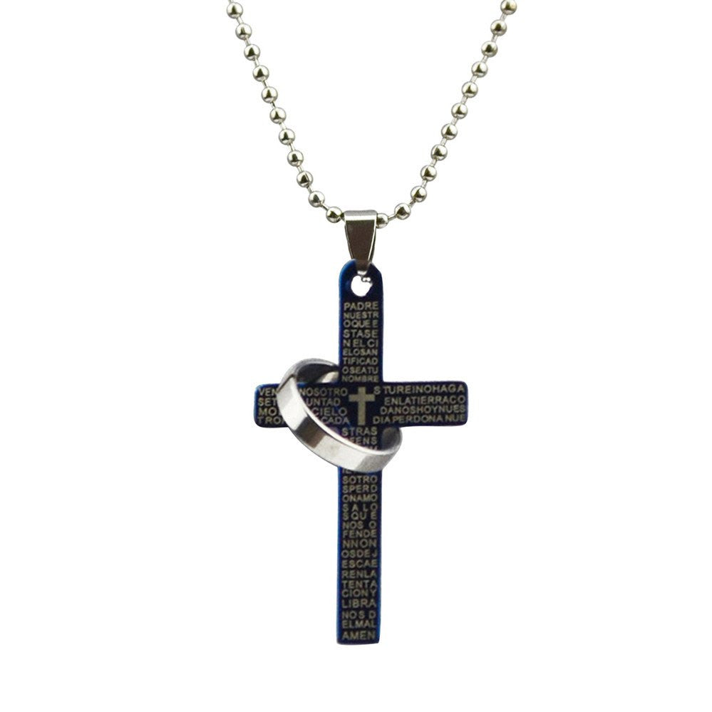 Itsuniquelmine cross necklaces for women and guys in Black with ring attached.