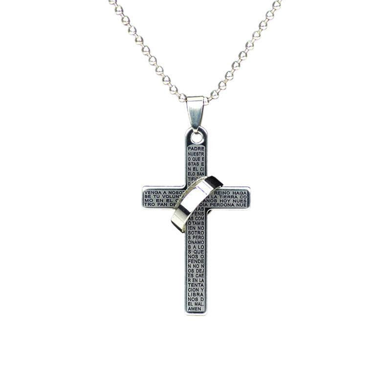 Christian necklaces for Men and women - silver with silver ring attached