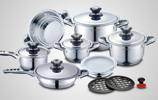 Royalty Line 16pc Stainless Steel Cooking Set with Glass Lids