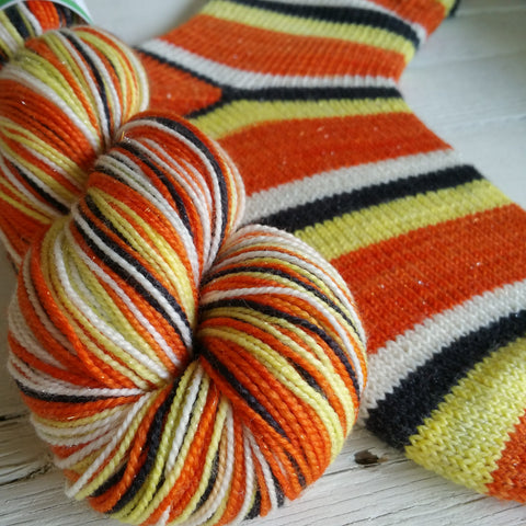 Candy Corn - Ritz -must match sock - Must Stash self striping sock yarn fun colorful knitting large skein twin matching double