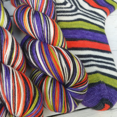Jack is Back -Must Match Sock - Must Stash self striping sock yarn fun colorful knitting large skein twin matching double