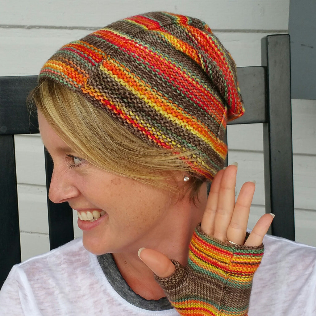 Campside Hat Pattern - Camp KAL 2017 - Must Stash self striping sock yarn fun colorful knitting large skein twin matching double