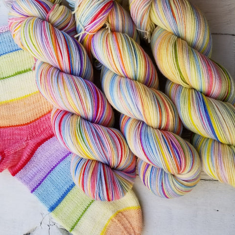 Jelly Belly -Must Match Sock - Must Stash self striping sock yarn fun colorful knitting large skein twin matching double