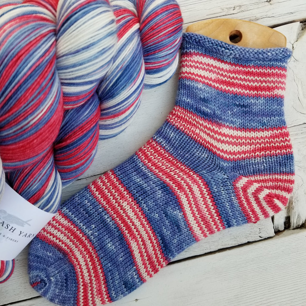 Old Glory -perfect must match set - Must Stash self striping sock yarn fun colorful knitting large skein twin matching double