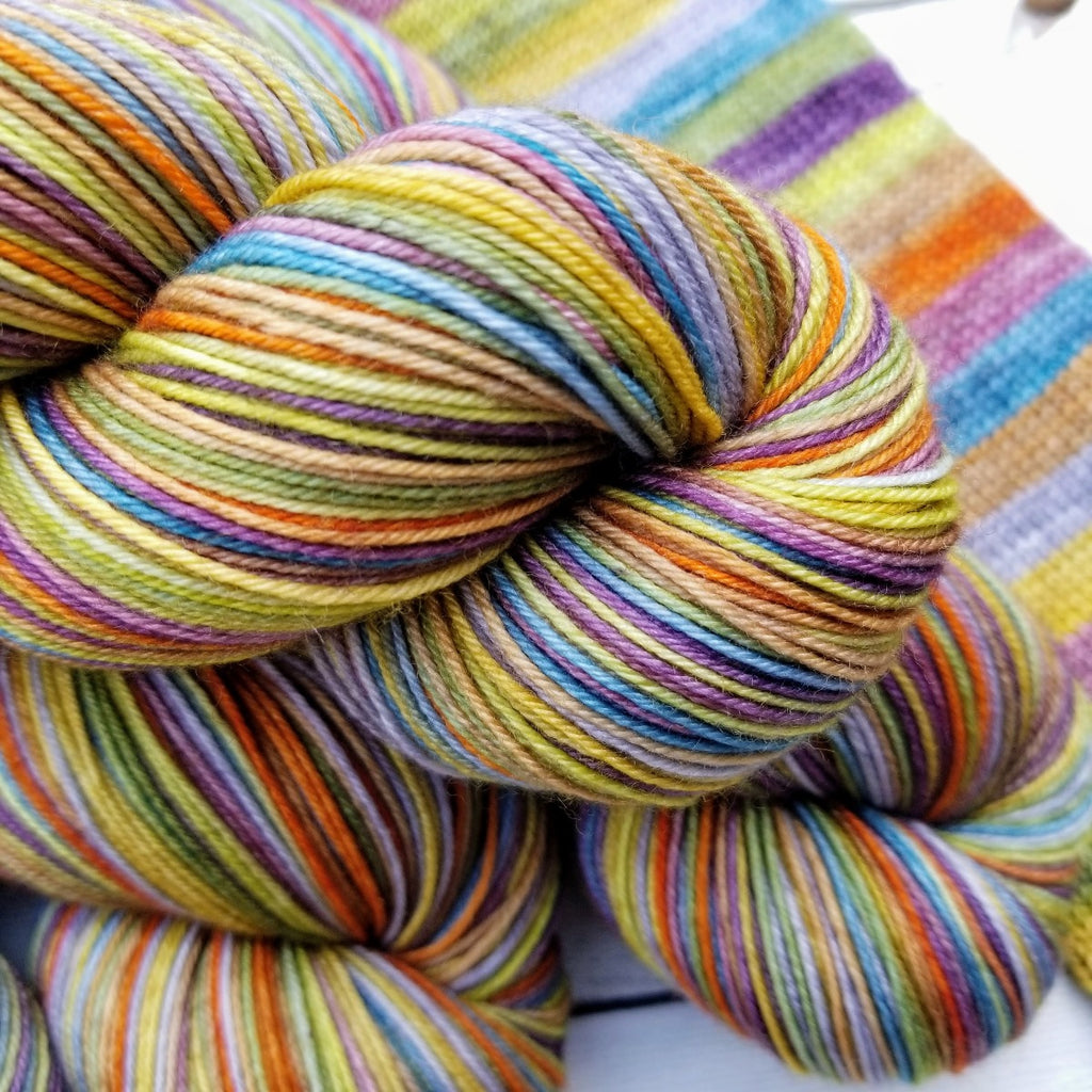 Bohemian -must match set - Must Stash self striping sock yarn fun colorful knitting large skein twin matching double