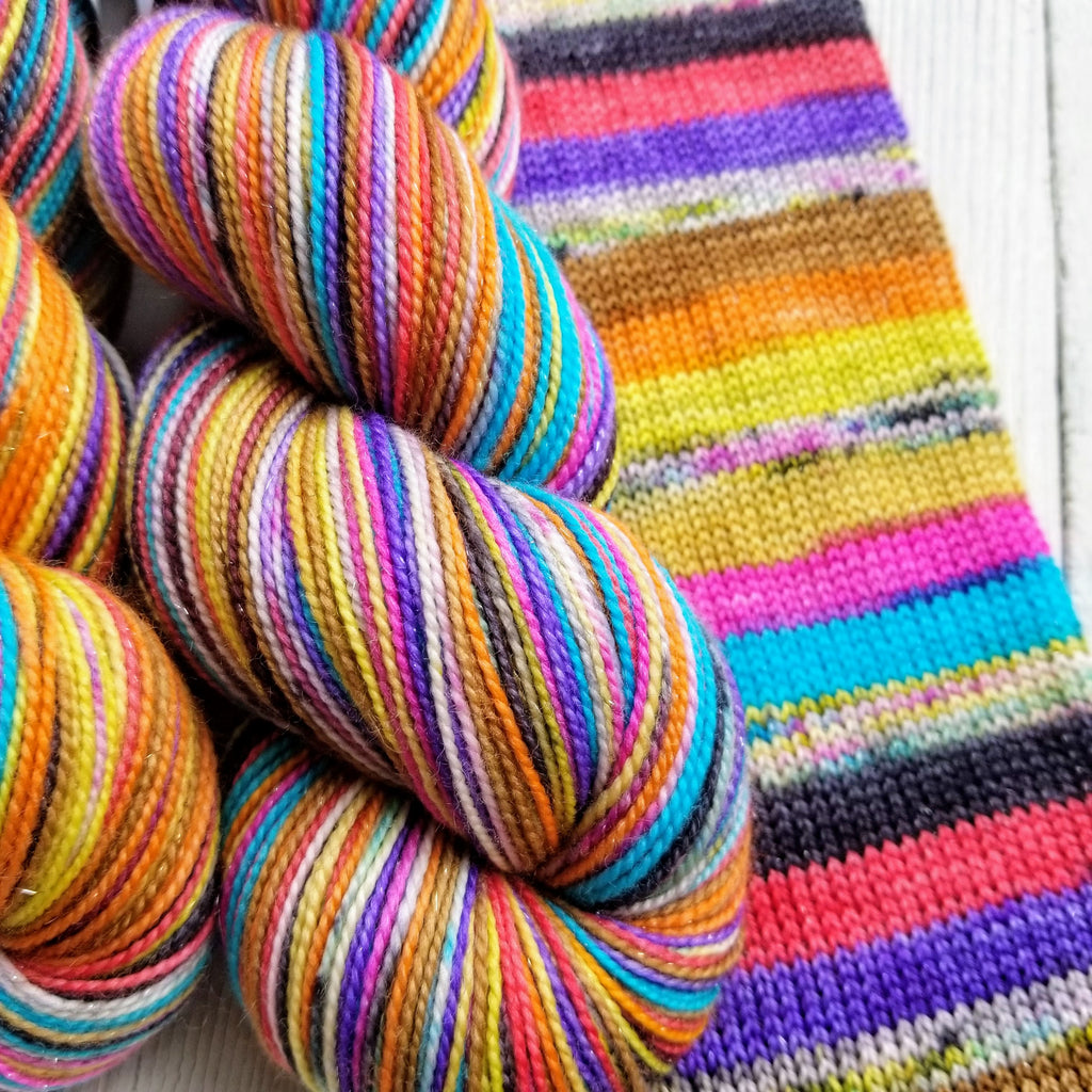 Calaveras - Ritz -must match sock - Must Stash self striping sock yarn fun colorful knitting large skein twin matching double