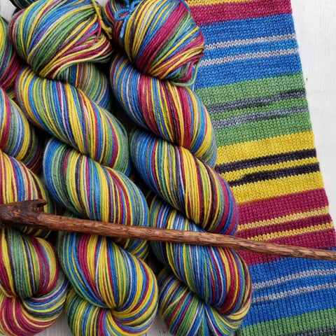 Hogwarts -perfect must match set - Must Stash self striping sock yarn fun colorful knitting large skein twin matching double