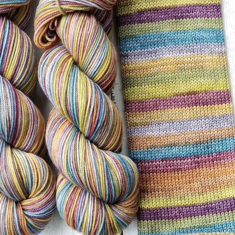 Bohemian -Sport -must match sock - Must Stash self striping sock yarn fun colorful knitting large skein twin matching double