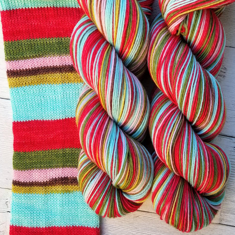 Nutcracker -must match sock - Must Stash self striping sock yarn fun colorful knitting large skein twin matching double