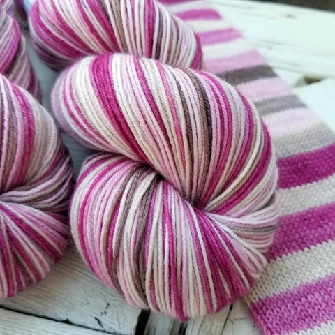 Raspberry Truffle -must match sock - Must Stash self striping sock yarn fun colorful knitting large skein twin matching double