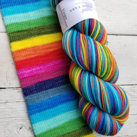 Vespa -perfect must match set - Must Stash self striping sock yarn fun colorful knitting large skein twin matching double