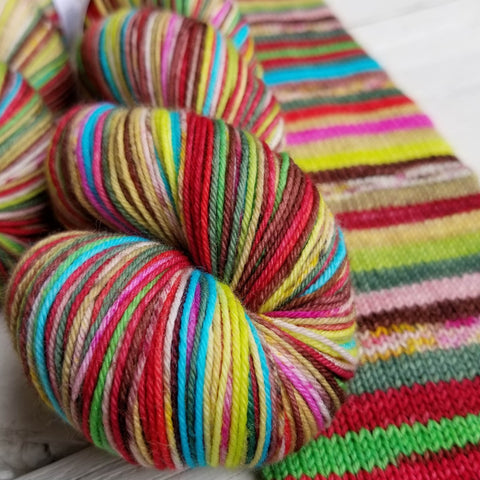 A Very Hobbit Christmas -2019 Advent - Must Stash self striping sock yarn fun colorful knitting large skein twin matching double