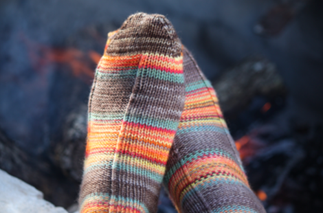 Let's Go Camping - Sport Socks Pattern - Camp KAL 2017 - Must Stash self striping sock yarn fun colorful knitting large skein twin matching double