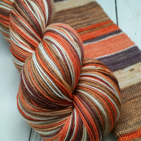 Pumpkin Spice Latte -must match sock - Must Stash self striping sock yarn fun colorful knitting large skein twin matching double