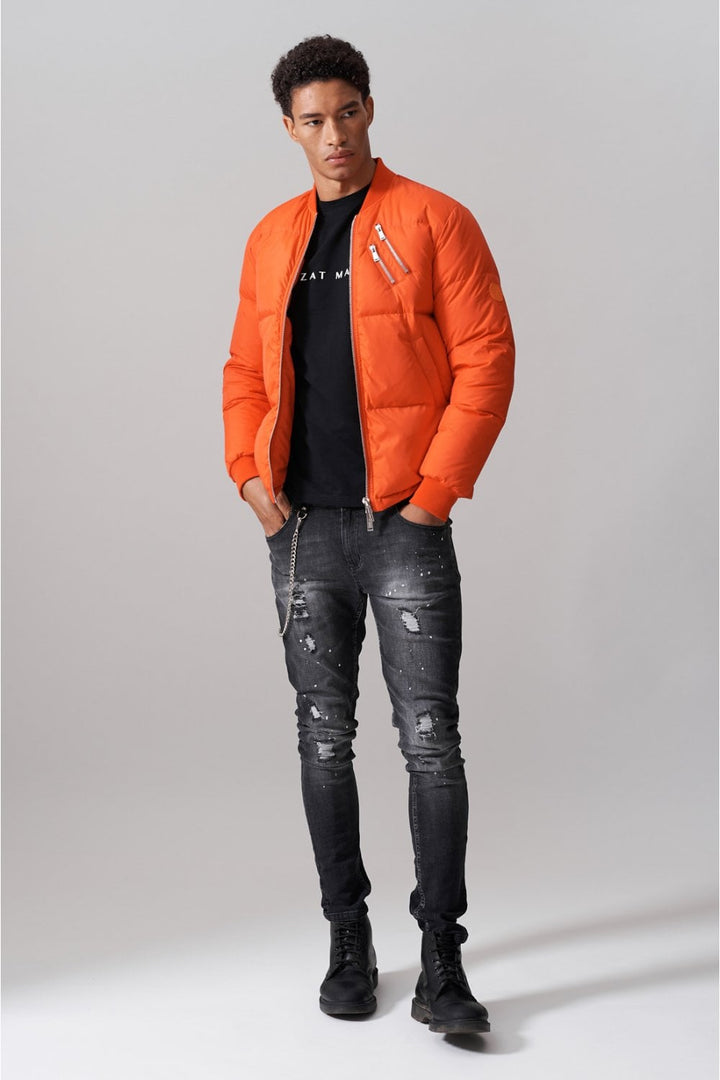 Azat Mard DOWN BOMBER JACKET Orange