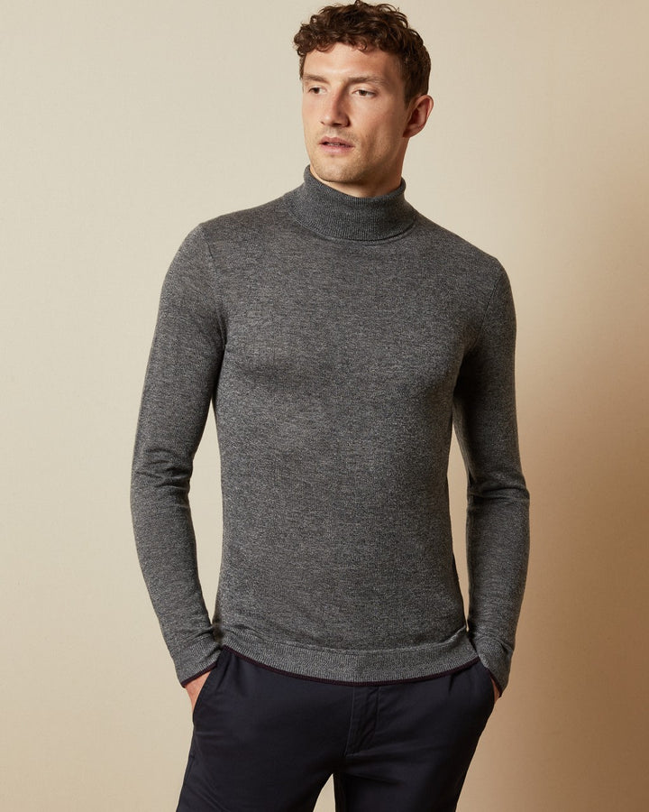 Ted Baker FITTED ROLL NECK JUMPER Grey