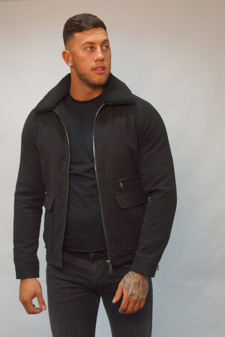 SSEINSE GUIBBINO FUR COLLAR JACKET Black
