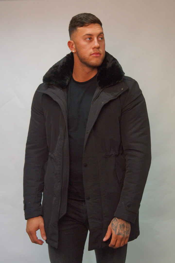 SSEINSE PARKA COAT FUR COLLAR Black