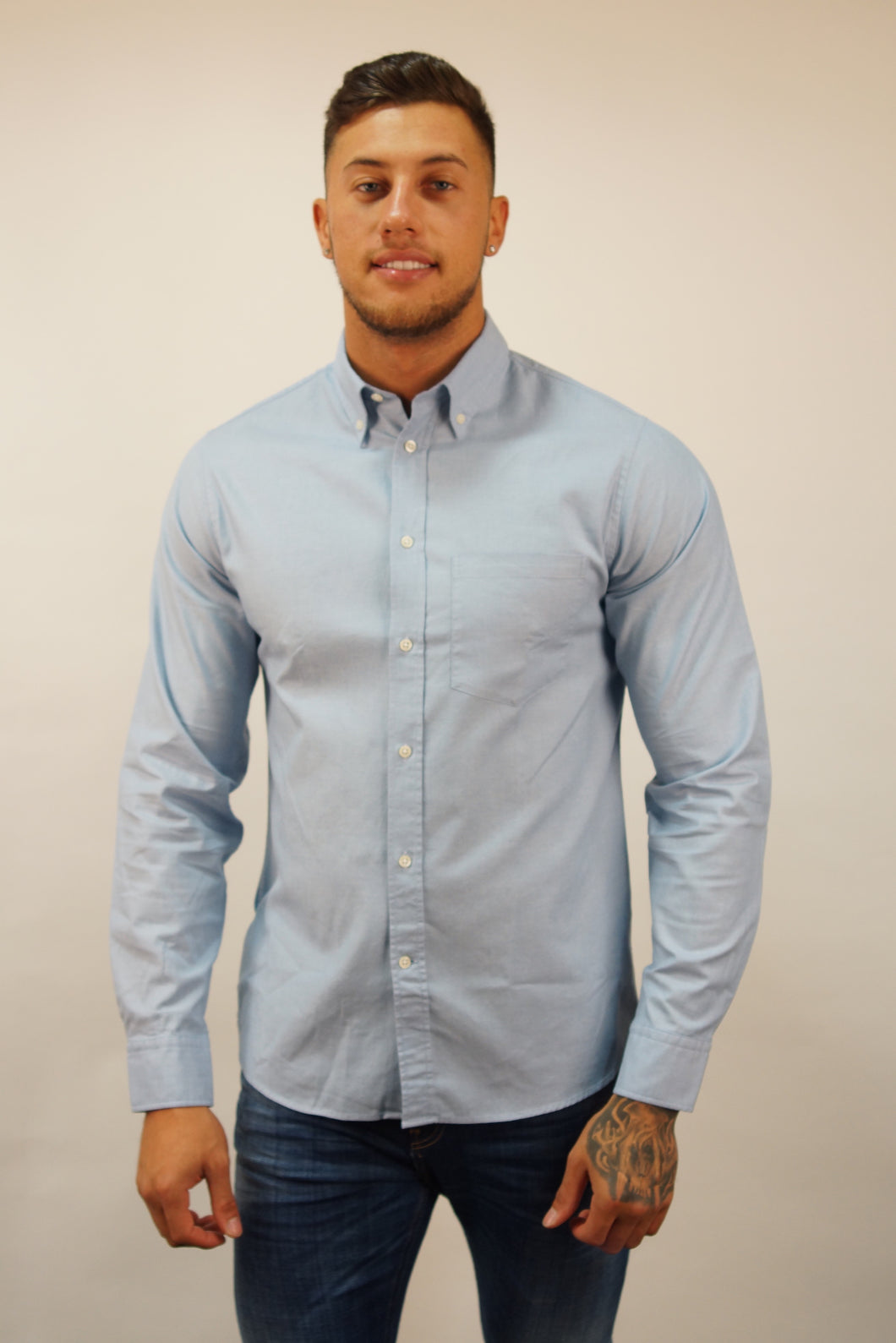 J. Lindeberg L/S DANIEL STRETCH OXFORD Blue