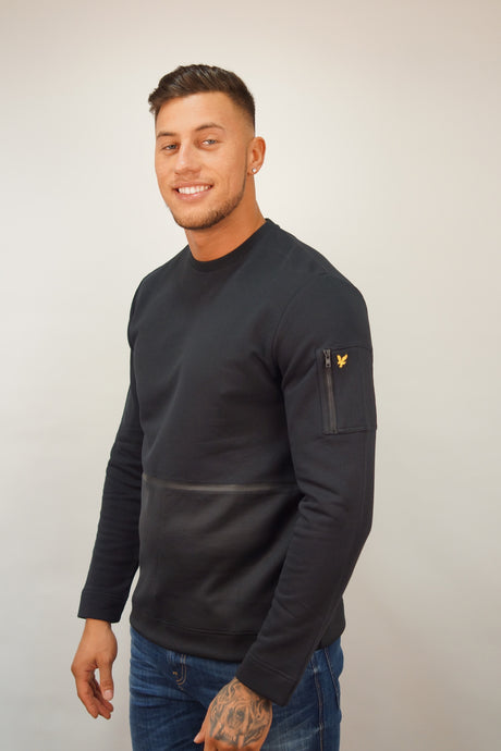 Lyle & Scott FABRIC MIX SWEATER Black
