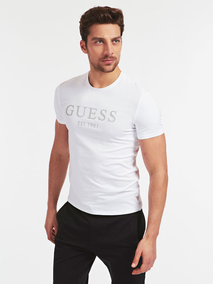 GUESS S/S CN LOGO TEE White