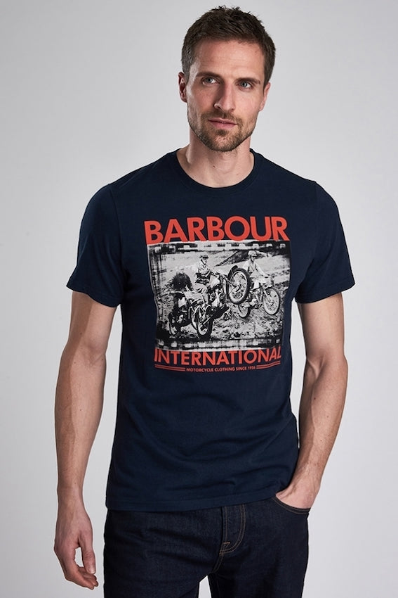Barbour S/S ARCHIVE BIKER TEE Navy