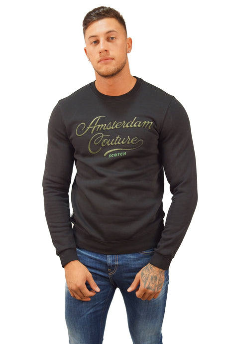 Scotch & Soda CLASSIC SWEAT WITH ART Black