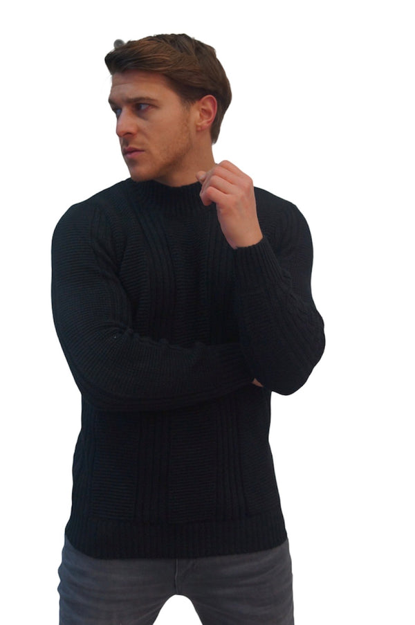 SSEINSE CABLE HIGH NECK JUMPER Black