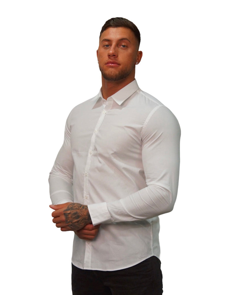 SSEINSE L/S PLAIN SLIM FIT SHIRT White