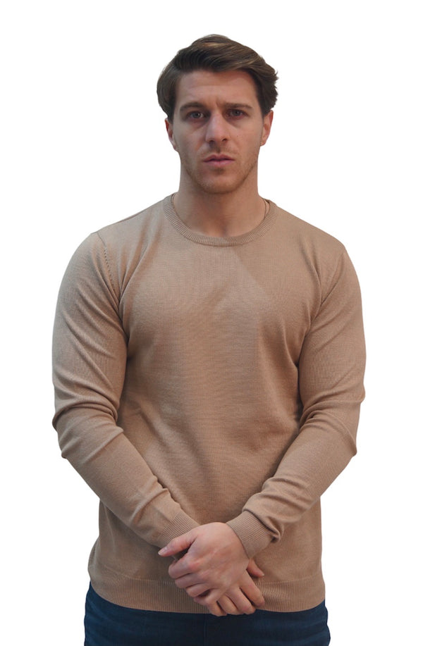 SSEINSE CREW NECK THIN KNIT JUMPER Camel
