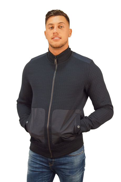 Ted Baker QUILTED FUNNEL NECK ZIP UP Navy