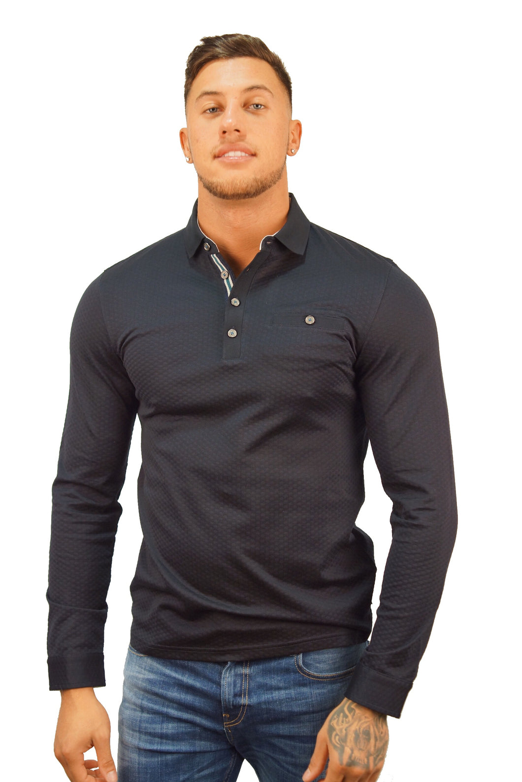 Ted Baker L/S FRUITPA TEXTURED POLO Navy