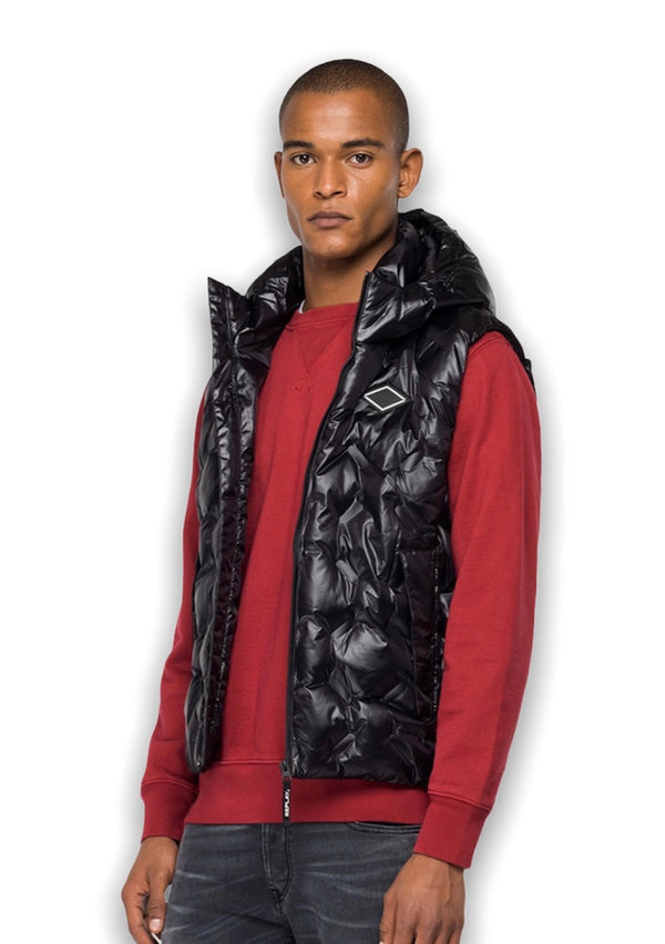 REPLAY DIOMAND PATTERN HOODED GILET Black