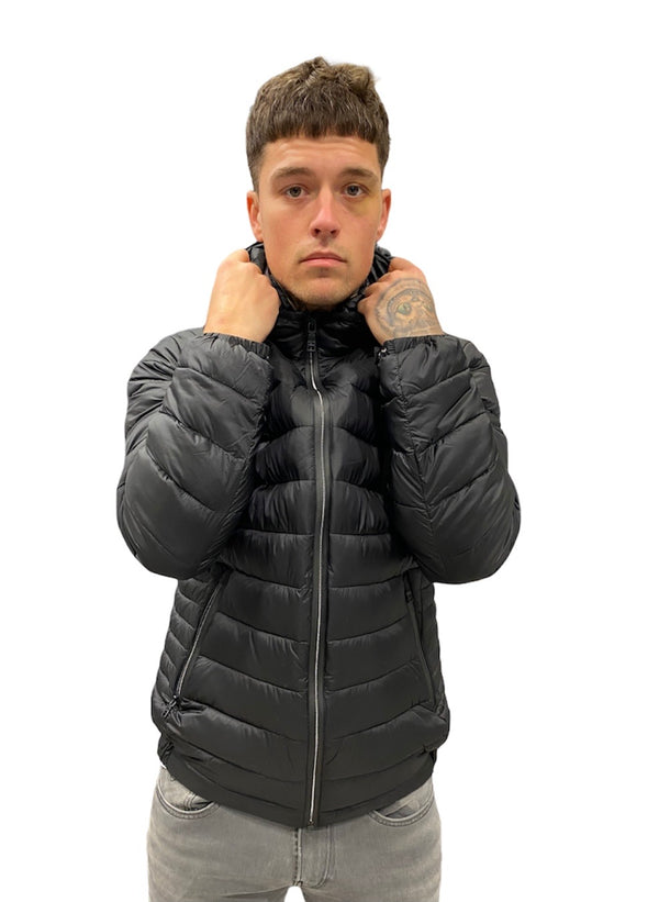 SSEINSE Hooded Puffer Coat Black