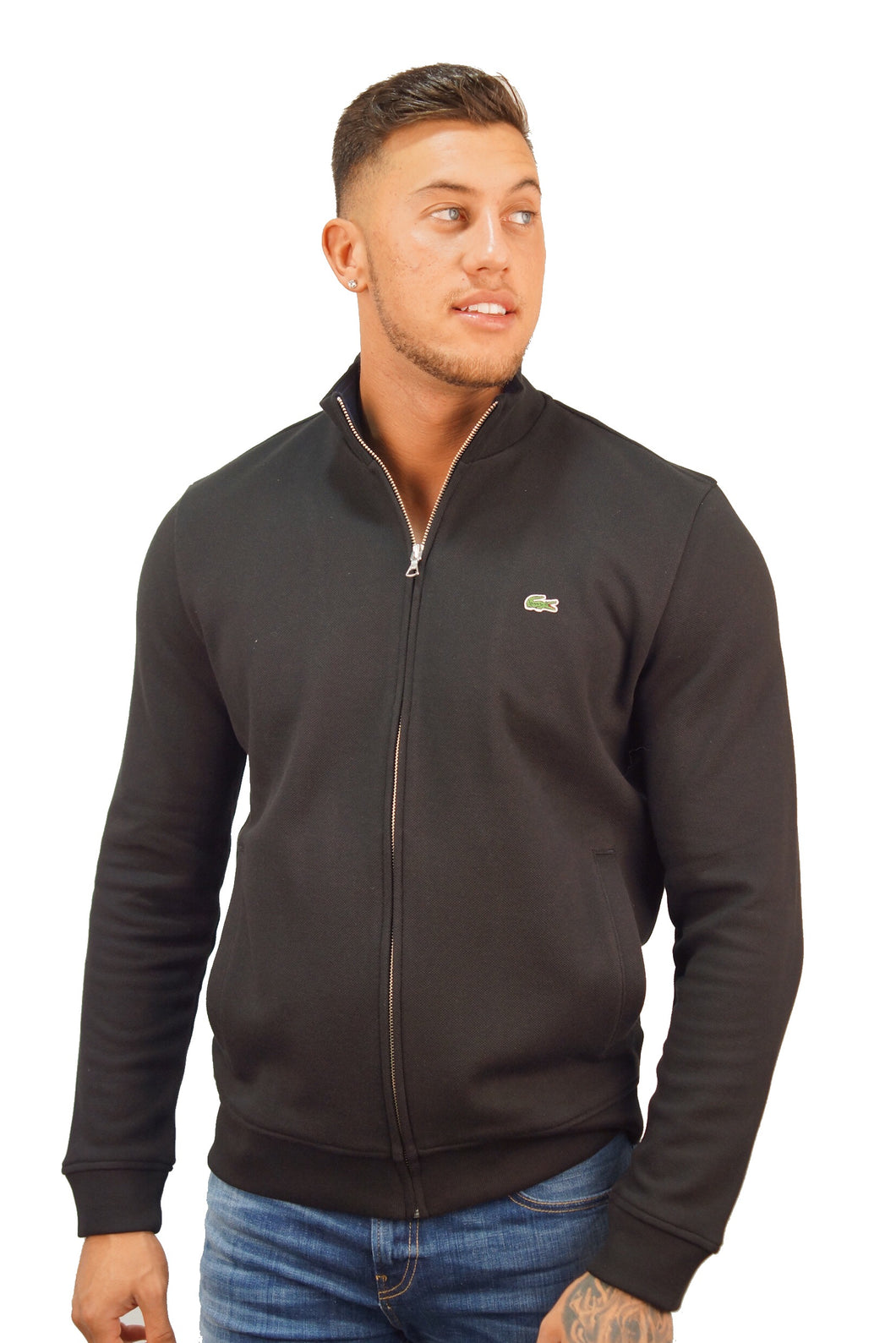 Lacoste PIQUE CLASSIC CROC ZIP UP Black