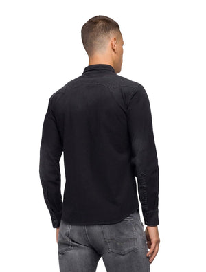 Replay Jeans L/S HYPERFLEX STRETCH SHIRT Grey