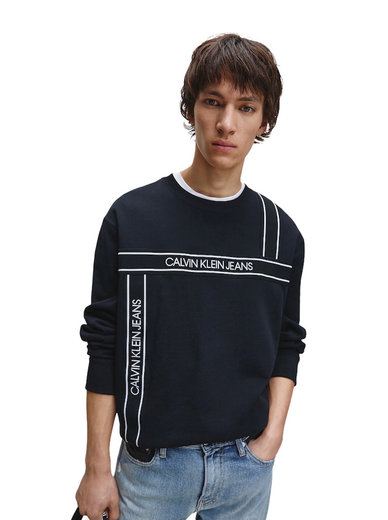 CALVIN KLEIN TAPE FASHION CREW SWEATER Black