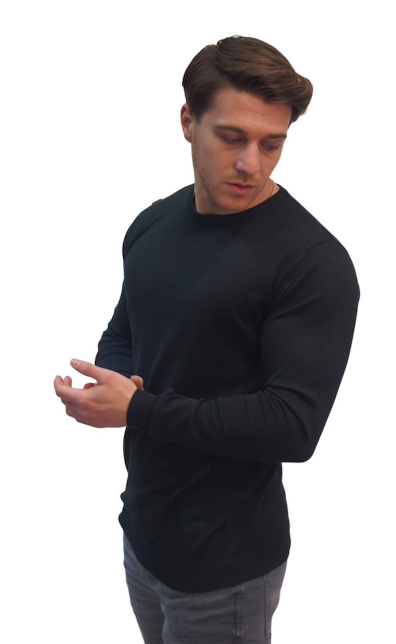 SSEINSE CREW NECK THIN KNIT JUMPER Black
