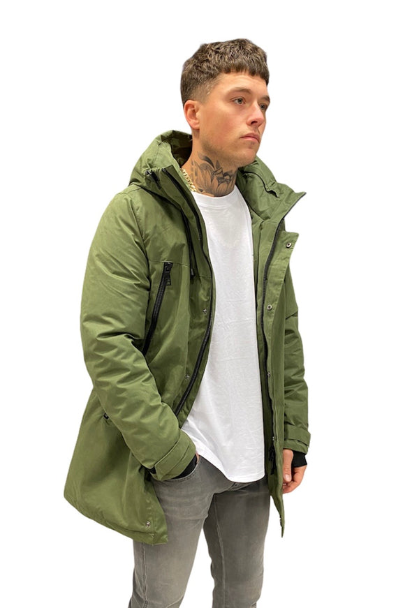 SSEINSE LONG PADDED HOOD PARKA Militery