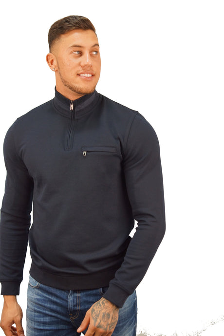 Ted Baker LEEVIT HALF ZIP FUNNEL NECK Navy