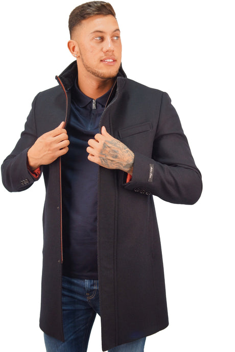 Ted Baker CHEAGO FUNNEL NECK COAT Navy