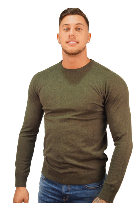 Scotch & Soda COTTON CREW THIN KNIT Army