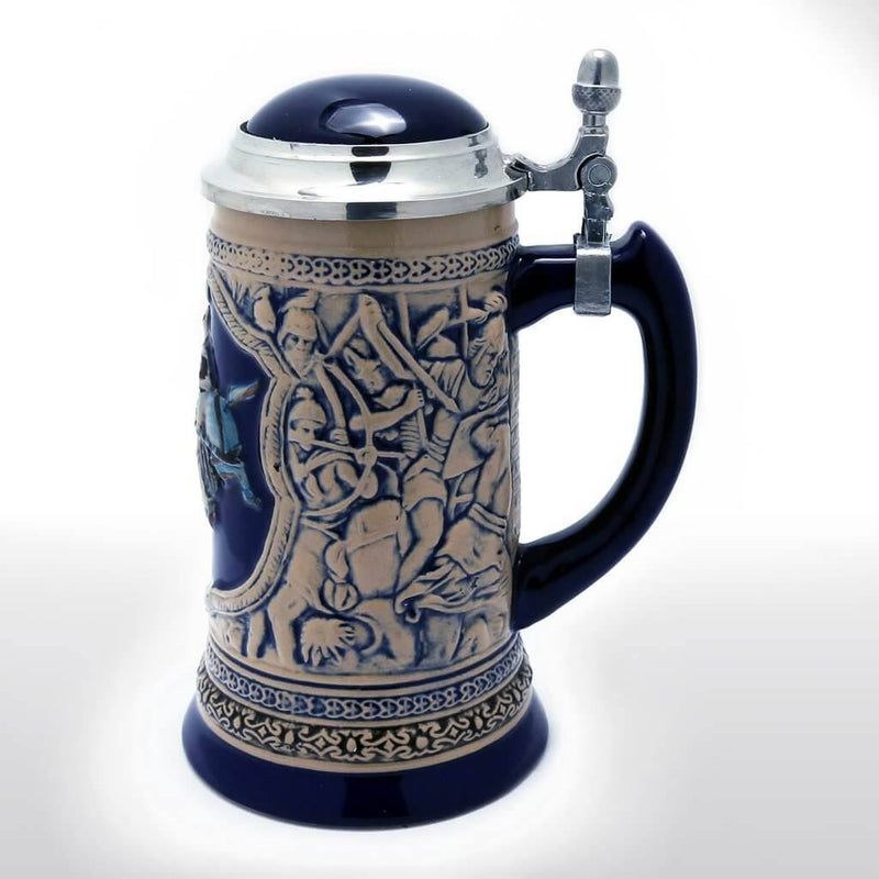 Beer Steins - 0.8 Liter Engraved Beer Stein With Metal Lid, Knight Motif
