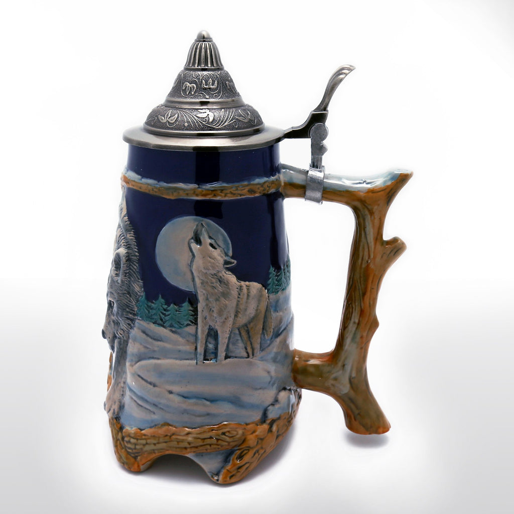 Beer Steins - 0.95 Liter Engraved Beer Stein With Relief Wolf Image