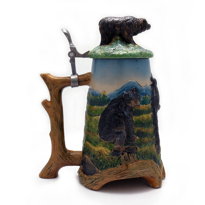 Beer Steins - 1.1 Liter Engraved Beer Stein With Bear Sculptured Lid