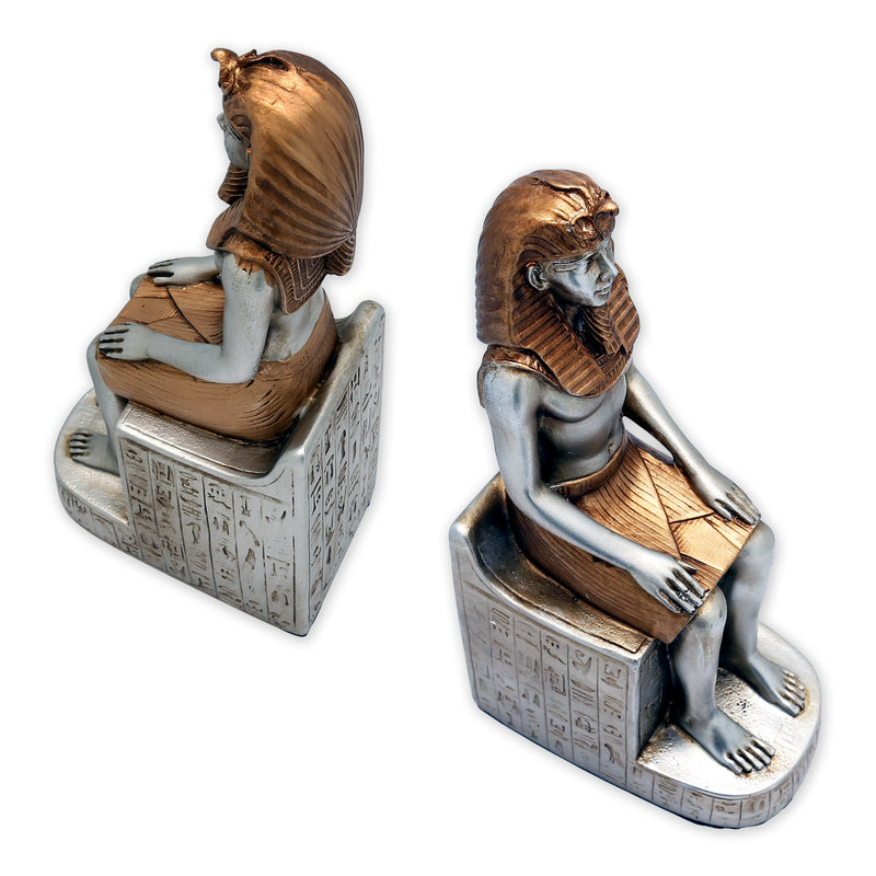 Bookends - Cast Resin Egyptian King Tut Bookends In Pair, Hand Painted