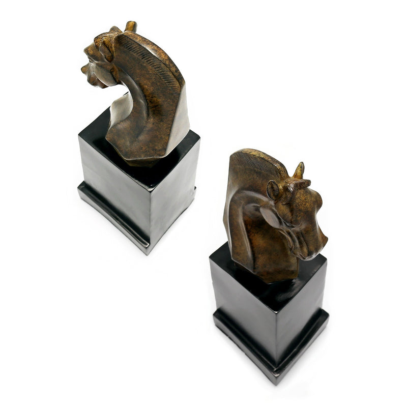 Bookends - Cast Resin Horse Head Bookends In Pair, Marble Finish